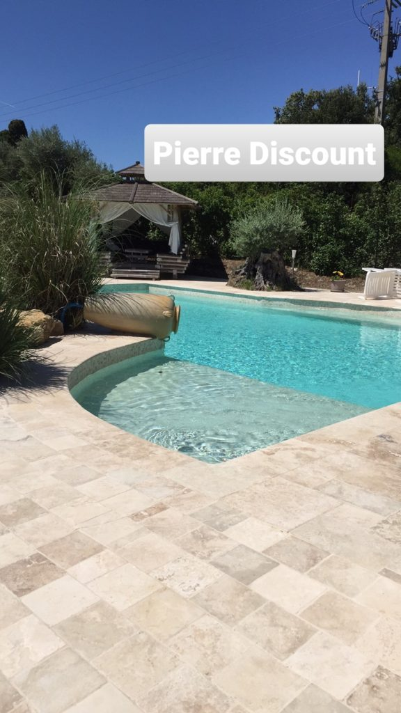 Travertin 20x20 margelle choix commercial piscine cc