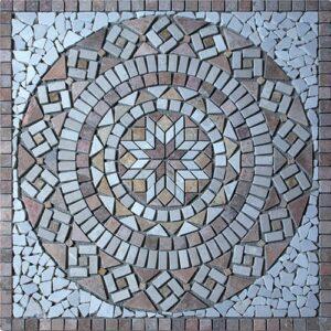 Rosace Travertin Arizona Jaune et Marbre Beige 61x61 ou 80x80 [Ref R001]